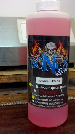 Bones Brew 30% Nitro Car Fuel w/8% Oil (7 Quarts) & (1 Quart) 30% Break-in  Recommended for Clockwork Racing Engines