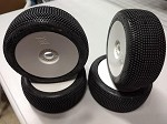1/8th Buggy Pixel Extreme Soft (YX) Long Wear Yellow dot set of 4 tires Pre-glued on White rims